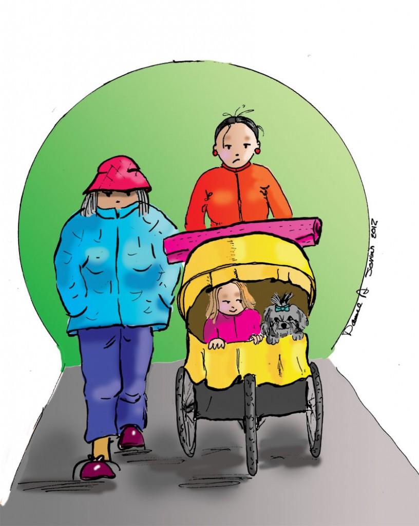 A family with a jogging stroller. Une famille avec une poussette de jogging