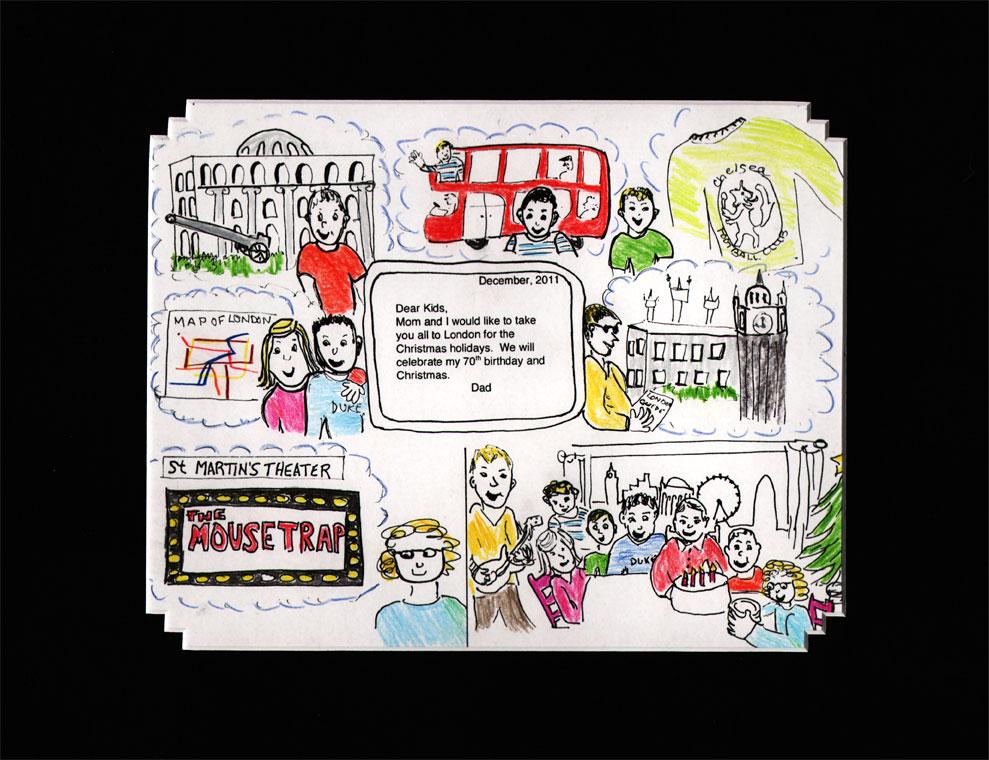 A graphic-memoir page describing a family trip to London.