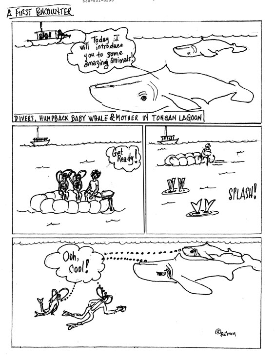 A Graphic-Memoir page about scuba diving with humpback whales.