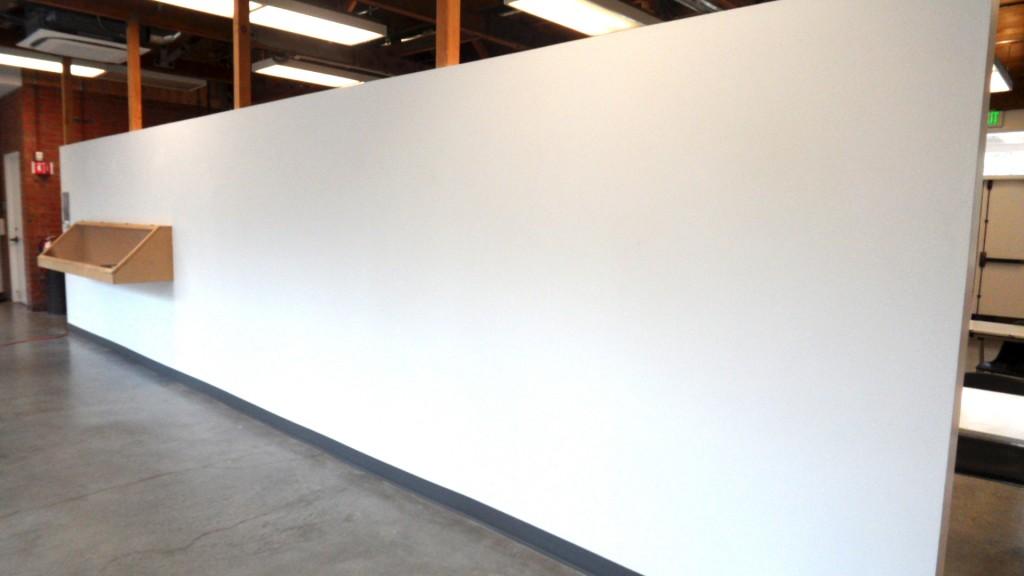 Display wall Palo Alto-Art Center. A white canvas...