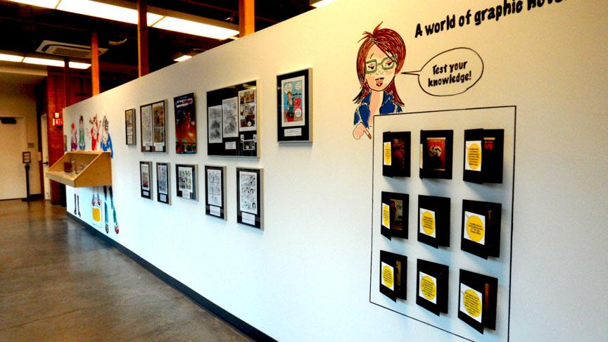 Graphic Novel display wall at the Palo Alto Art Center. Danièle Archambault. DanieleBD
