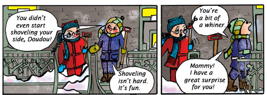 Stairway Stories. Winter fun. Shoveling.