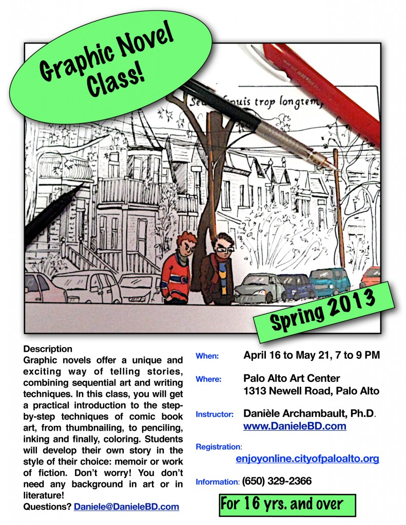 Spring Graphic Novel class at the Palo Alto Art Center.