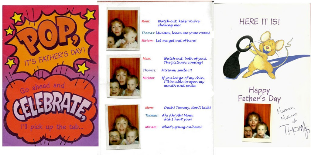 Father's Day card and comic strip.