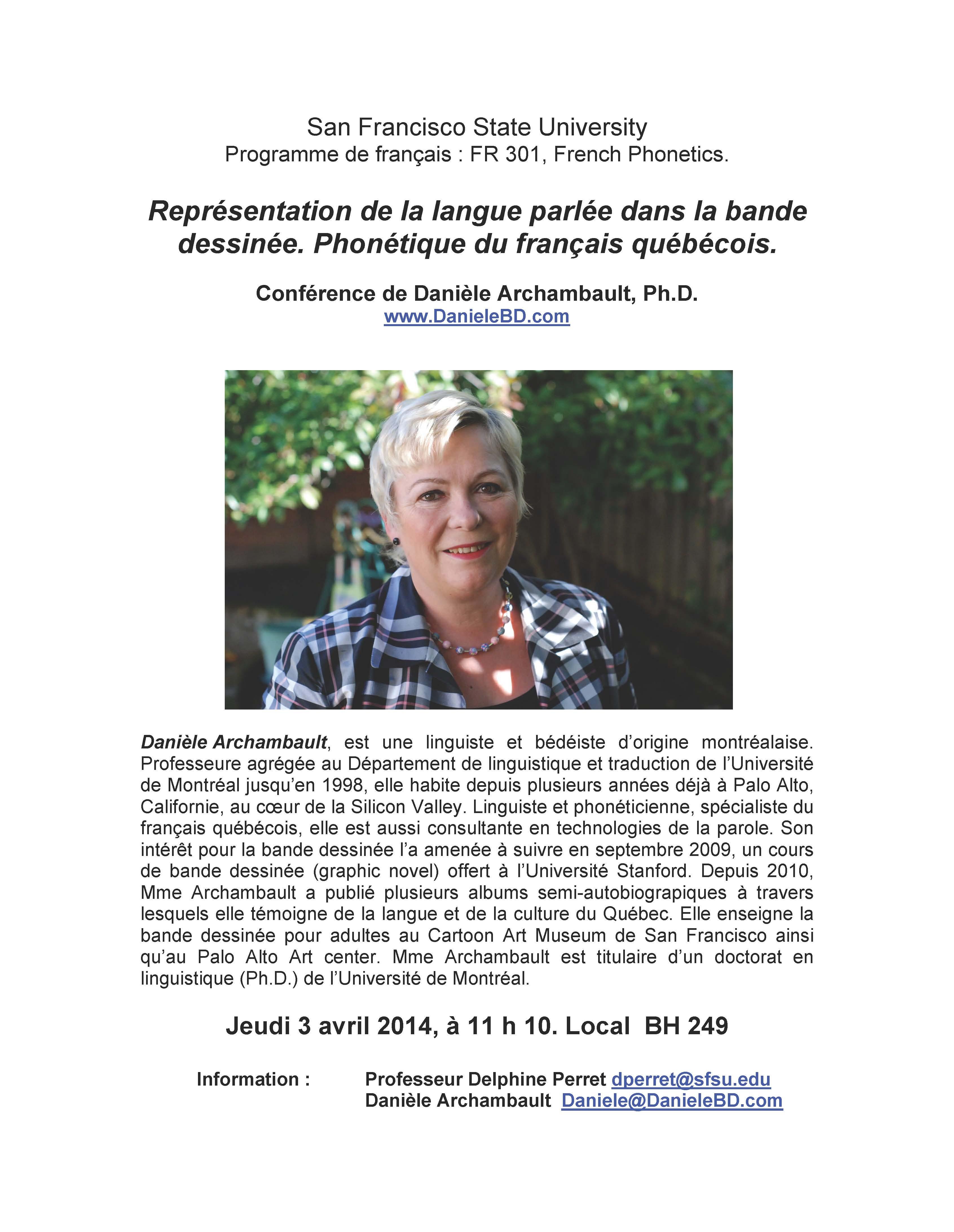 Conférence sur la BD et la phonétique du français québécois. San Francisco State University. Danièle Archambault