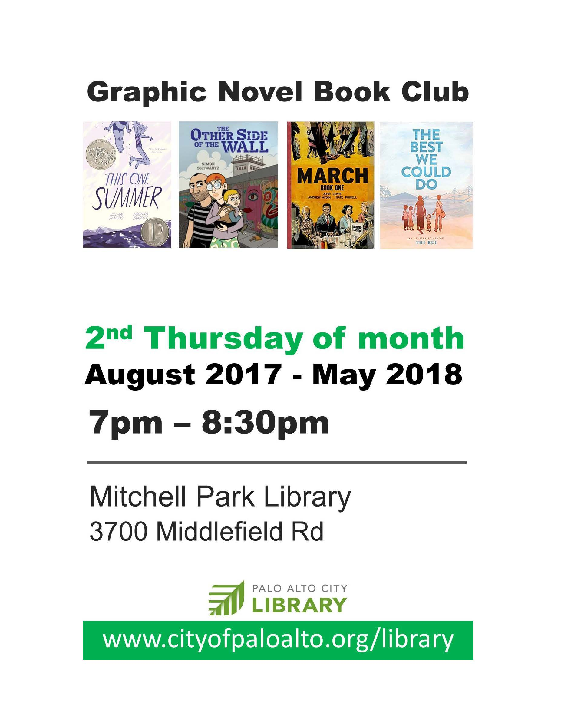 2017-18 Graphic Novel Book Club in Palo Alto. Daniele Archambault, facilitator.P. 2.