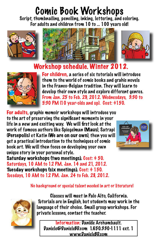 Schedule for the Comic Book and Graphic Memoir Workshops. Winter 2012.