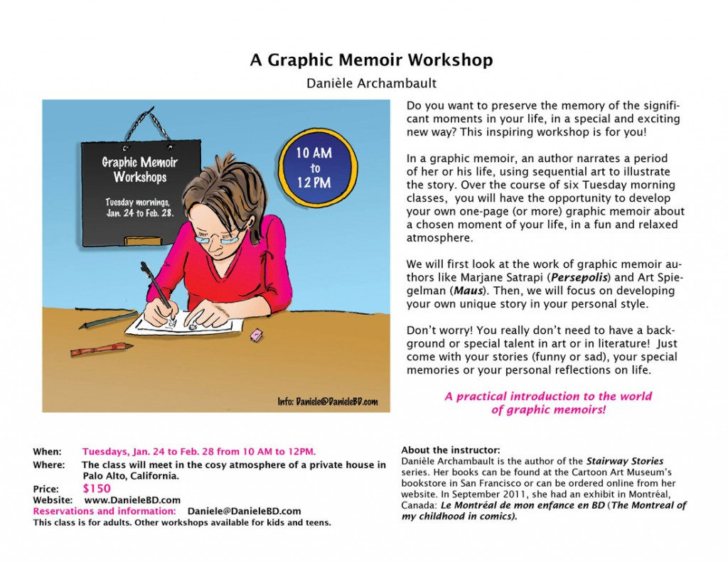 The flyer for the Graphic Memoir workshop by Danièle Archambault
