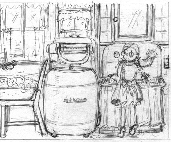 La cuisine de Doudou. Un extrait de l'album Histoires d'escaliers.