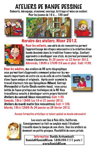 Horaire d'ateliers de bande dessinée. Hiver 2012.