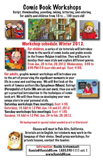 Comic Book Workshops. Schedule Winter 2012.