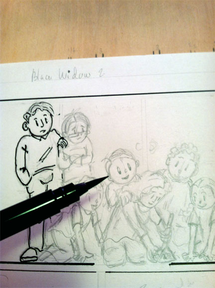 A picture of the inking process for one of the Quebec-California pages. Danièle Archambault