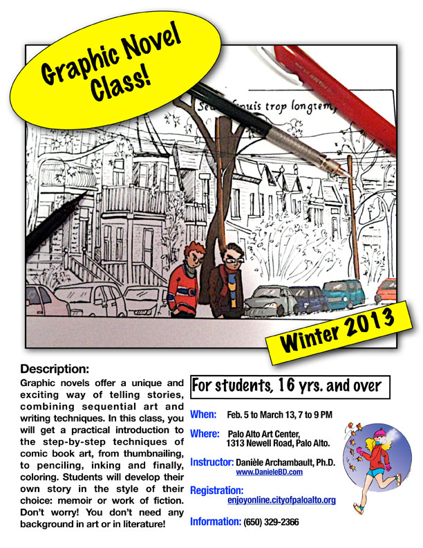 A new weekly Graphic novel class for adults (16 years and over) at the Palo Alto Art Center. Winter 2013