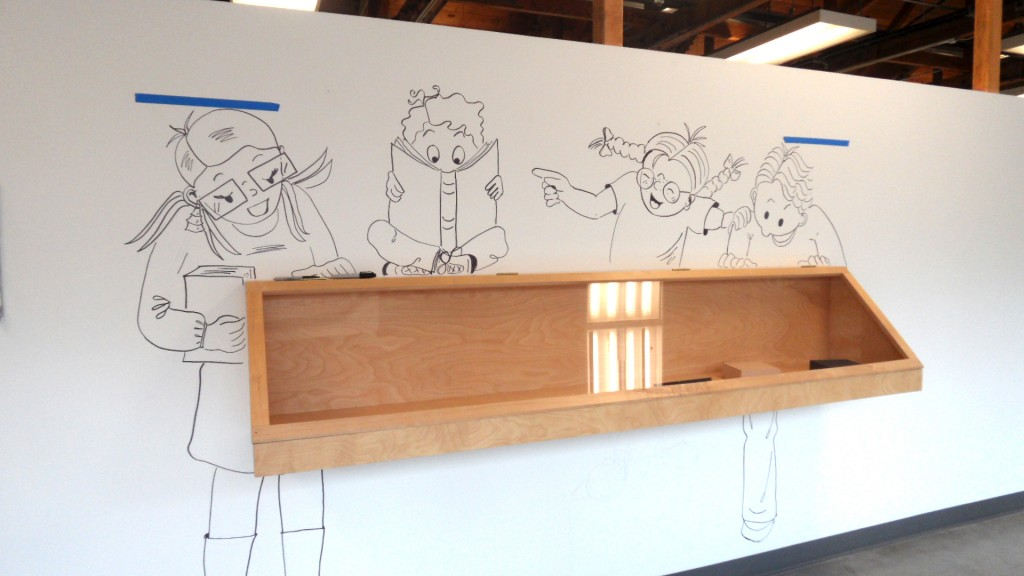 Display Wall at the Palo Alto Art Center. After penciling,  I start inking.