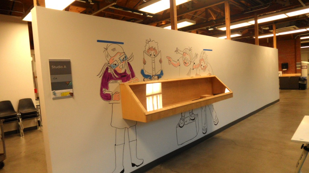The display wall at the Palo Alto Art Center. In the afternoon, I start adding some color... Not done, yet.