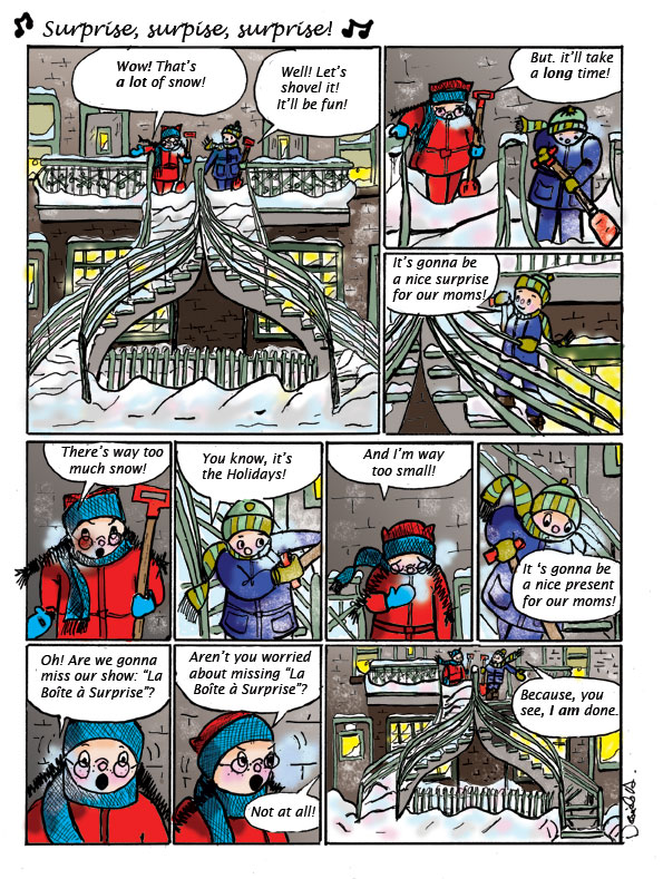 Surprise! It snowed! A page from the comic album Stairway Stories. On the Way to School.