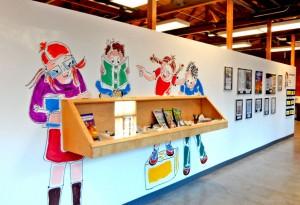 Graphic Novel display wall at the Palo Alto Art Center.