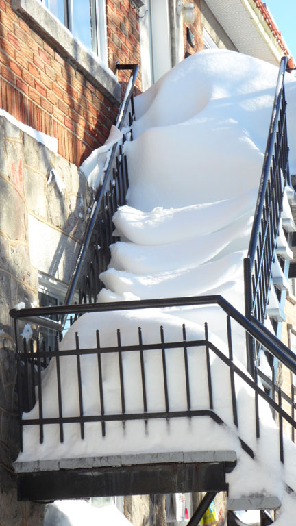 Snowstorm and stairways! A close-up!