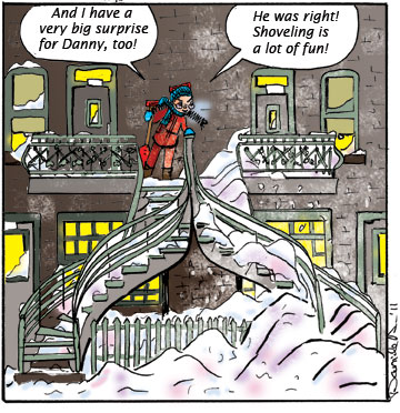 Stairway Stories. Winter fun. Doudou is proud of herself.