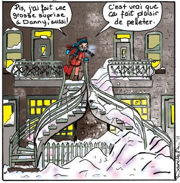 Histoires d'escaliers. Plaisirs d'hiver. Doudou est très fière d'elle!