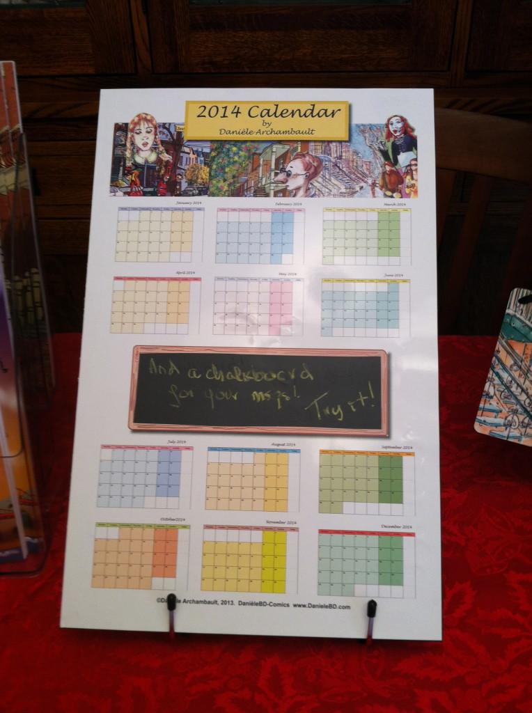 Calendar 2014 by Danièle Archambault. DanieleBD-Comics