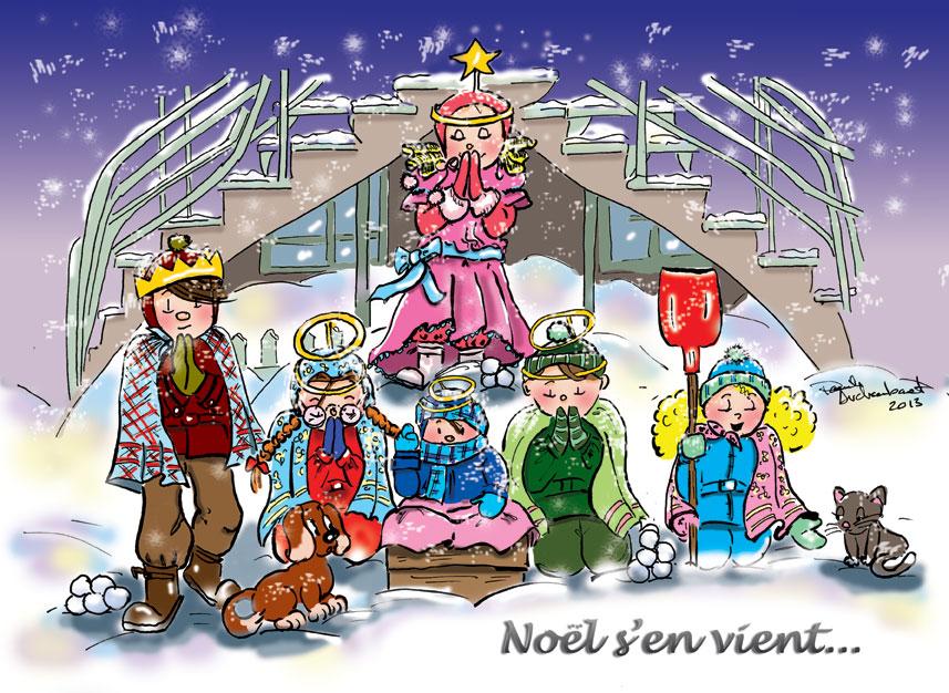 Carte de Noël 2013 par Danièle Archambault. Personnages de la  série de bande dessinée Histoires d'escaliers.