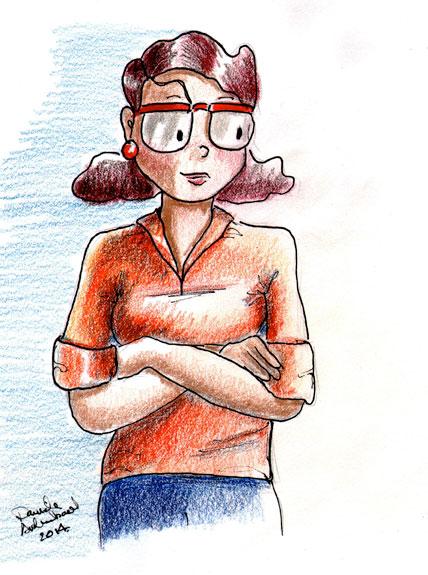 Catherine; Crayons de couleur, papier fini vélin