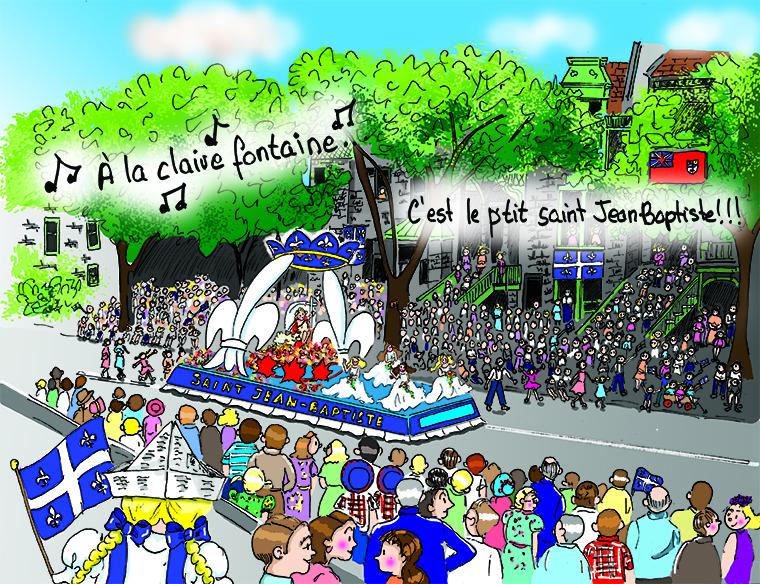 Défilé de la Saint-Jean-Baptiste. Montréal, fin des années 1950. Danièle Archambault